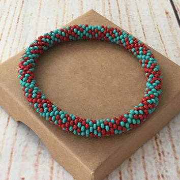 Nepal roll on bracelet,  beaded bangle bracelet, turquoise red bracelet, bead crochet bracelet, stackable bracelet, single nepal bracelet