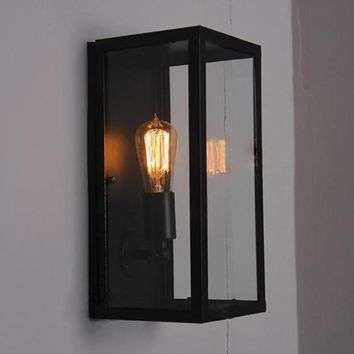 Clear Glass Outdoor Retro Metal Frame Wall Light