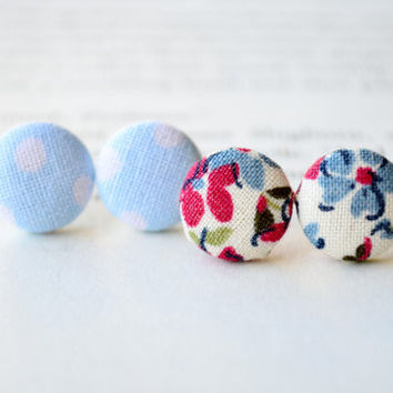 Floral Button Earrings, Floral Button Earrings, Little Flowers, Floral Fabric Earrings, Birthday Gift, Party Favors