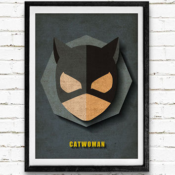 Catwoman Watercolor Art Print Batman Poster, DC Comics Superhero, Nursery Room Wall Art, Home Decor, Not Framed, Buy 2 Get 1 Free