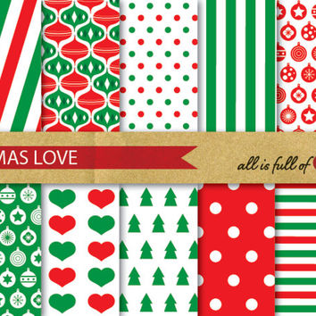 XMAS Digital Paper Pack CHRISTMAS SCRAPBOOKING wrapping paper with Instant Download