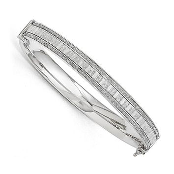 8mm Sterling Silver Glitter Inlay Hinged Bangle Bracelet