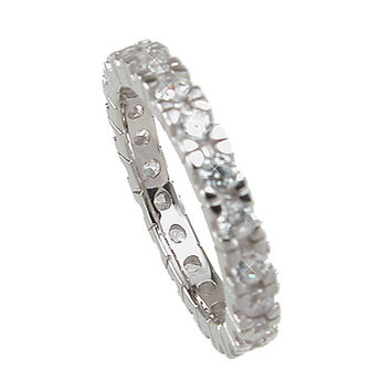 Plutus Brands 925 Sterling Silver Eternity Wedding Band 1 Carat Weight- Size 5