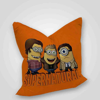 Minion Supernatural, pillow case, pillow cover, cute and awesome pillow covers