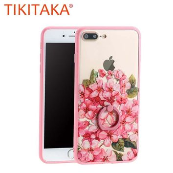 Painted Flower Pattern Hard Acrylic PC Cover For iphone 7 7 Plus Funda Top Quality Ring Holder Stand Phone Cases Back Cover Capa