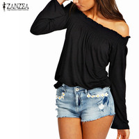 Blusas Femininas 2017 Autumn Sexy Women Ladies Solid Shirred Off Shoulder Tops Casual Long Sleeve Blouse Shirt Plus Size
