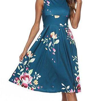 CEASIKERY Women's Vintage 1950's 3/4 Sleeve Floral Print Casual Cocktail Swing Dress