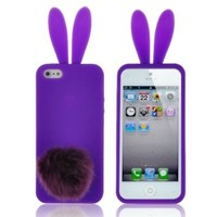 Rabbit Silicone Case Blue Bunny Ears Soft Rubber Silicon Soft Cover Skin Furry Tail For Apple iPhone 5C