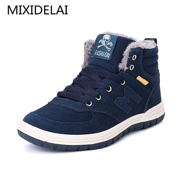 Winter Men Fashion Leather Boots Casual Men Leather Moccasin Brand Winter Men Shoes Men Ankle Boots Cheap Cowboy Boots