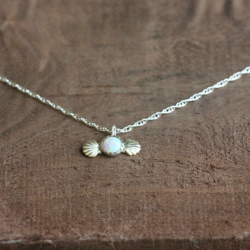 Delicate Opal necklace, mermaid necklace, silver necklace, best friend gift, gift for her, October birthstone, shell necklace