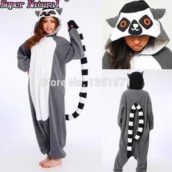 HKSNG New Lemur Long Tail Catta Monkey Pajamas Animal Winter Onesuit Adults Halloween Cosplay Costume Party Gift