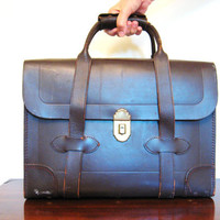 50s Vintage LEATHER BRIEFCASE Messenger Mail BAG by fabulousmess