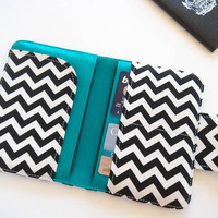 Passport Wallet , Travel Wallet, Passport Holder for Two OR Four Passports in Black Chevron - Choose Size and Lining Color - Made To Order