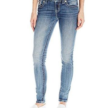 Miss Me Women's Mid Rise Skinny Denim Jean with Pleated Detail