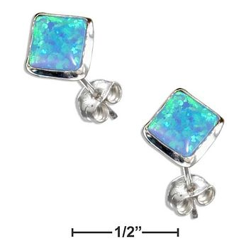 STERLING SILVER SQUARE SYNTHETIC BLUE OPAL POST EARRINGS