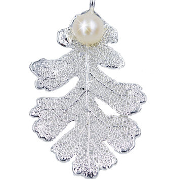 Real Leaf PENDANT Lacey OAK in Sterling Silver w/Freshwater Pearl