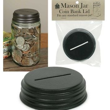 Mason Jar  Coin Bank Lid Piggy Bank