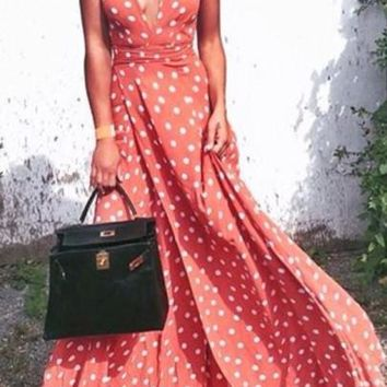 Red Polka Dot Pattern Plunging Neckline Bohemian Polyester Maxi Dress