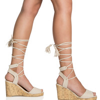Carina Lace-up Wedge Sandals