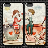Kids In Love iPhone 5 4/4S Samsung Galaxy S3 S2 S3 Mini Hard Plastic Glossy Couple Cases 0009