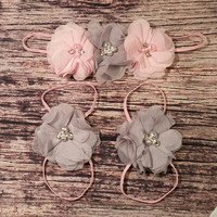 Pink and Gray Chiffon Skinny Baby Girl Headband And Barefoot Sandal Set!