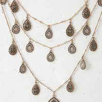 Layered Faux Gem Teardrop Necklace
