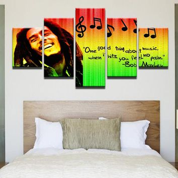 HD Prints Pictures Home Decor Modular Canvas Wall Art 5 Pieces Bob Marley Painting For Living Room Music Poster Framework