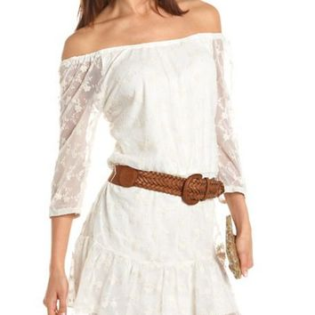 Belted Lace Ruffle Hem Dress: Charlotte Russe