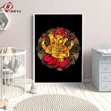 1 Pieces Lord Ganesha Vibrant Wall Art Posters ans Prints For Living Room HD Spray Canvas Painting Home Decor Pictures No Frame