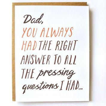 Dad Answers Father's Day Card