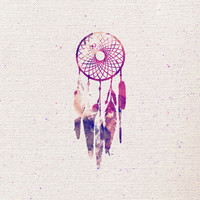 Girly Pink Purple Dream Catcher Watercolor Paint Art Print by Railton Road