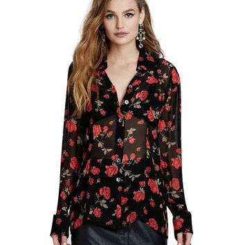 Rose Print Long Sleeve Chiffon Blouse