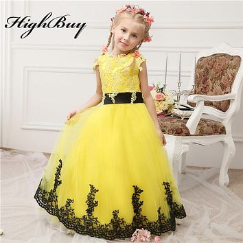 HighBuy 2017 Bright Yellow New Arrival Lace Appliques Black Sash Bow Baby Infant Flower Girl Dresses Girls Formal Party Dresses