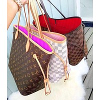 "LV Bag Women ""Louis Vuitton""Bag  Classic Popular Shopping Leather Handbag Tote Cosmetic Bag Two Piece Set"