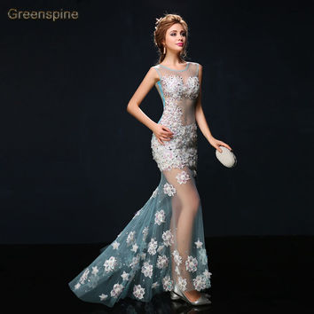 Real Photo Elegant Appliques Long Evening Dress Sexy See-Through Back Tulle Floor Length Mermaid Prom Dresses  robe LF0089