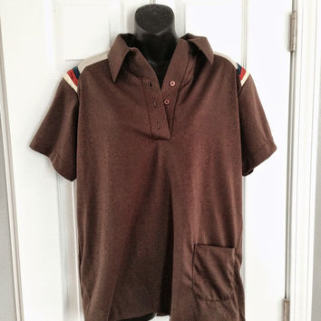 vintage 1970s King Louie bowling polo t-shirt brown