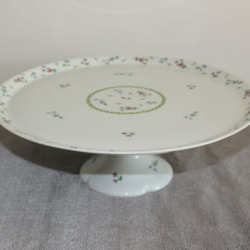 Bernardaud Limoges Artois Green Footed Cake Plate, Limoges France, Pedestal Cake Stand