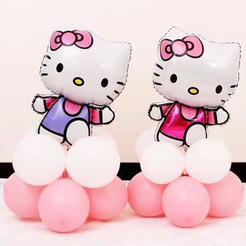 New 1 Set Cute Hello Kitty Pink Balloons Decoration Birthday Baby Shower Party Kid Favor Home Party  Supplies Globos