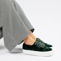 Superga Platform Trainers In Jade Velour at asos.com