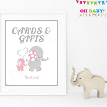 Cards and Gifts Baby Shower Sign Pink and Gray Elephant Pink Elephant Baby Shower Decorations Printable Girl Instant Download EL0005-lp