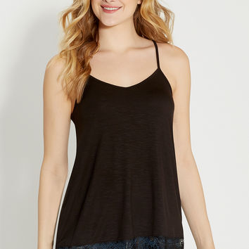 relaxed cami with lace hem