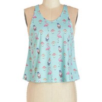 ModCloth Pastel Short Tank top (2 thick straps) Cropped Quirk of Art Top