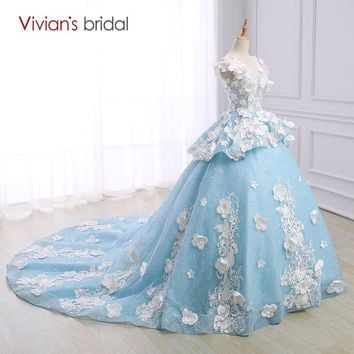 Bridal Wedding Dress Ball Gown Cap Sleeve Organza Flower Wedding Gown