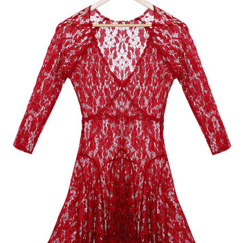 Red Lace Fit and Flare Mini Dress
