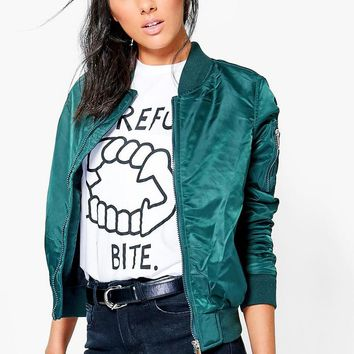 Harriet Bomber With Contrast Lining | Boohoo