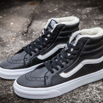 Vans Leather With Fur Warm Casual Shoes Black G