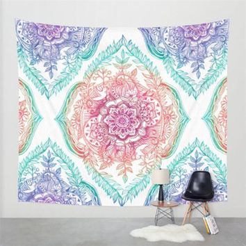 Durable beach towels Hippie Bohemian Tapestry Beach Throw Roundie Mandala Towel Yoga Mat