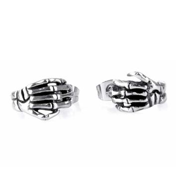 Hip Hop Skeleton Fingers Earrings Men Stainless Steel Post Earrings Spooky Gift Gothic Punk Personalized Party Jewelry