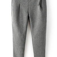 Grey Pleated Casual Pant