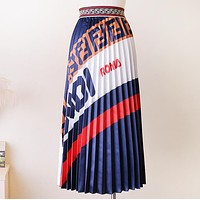 Fendi New Fashion More Letter Print Contrast Color Women High Quality Skirt Blue